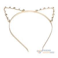 #F9s Sexy Cat Ear Girl Head Band Beaded Hair Band Metal Fashion Gold