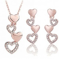 New 2014 Wholesale Austria Crystal Jewerly Sets Heart Crystal Pendants Necklaces Stud Earring  Rose Gold Plated For Women