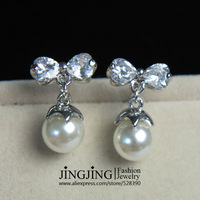 E122 White Gold Plated CZ Butterfly and Pearl Drop Earrings FREE SHIPPING