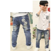 2013 kids Boys demin pants boy's skull straight jeans trousers free shipping