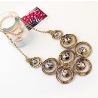 2014 New Vintage Gold Plated Alloy Round Gem Drop Choker Statement Necklaces & Pendants Fashion Jewelry Women Wholesale MJ0470