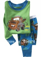 New style green car pajamas, cotton homewear, child home clothes suits, Baby Pyjamas, Childen Pyjamas, Sleepwear 6sets/lot