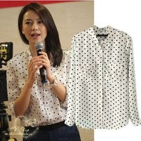 On Sale EB2013 spring and summer high round star badges with paragraph Polka Dot Printed chiffon long-sleeved women's shirt