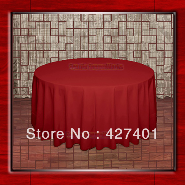 """Hot Sale 132"""" R Cherry Red Round Table Cloth Polyester Plain Table Cover for Wedding Events &Party Decoration(Supplier)(China (Mainland))"""