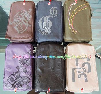 Universal Zipper Flip Wallet Key credit card Purse Big Mobile Cell cellphone phone Soft cloth case bag pouch bags cases 5pcs