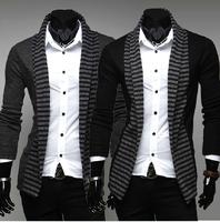 hot sale  2013  fashion spring stripe slim casual long-sleeve men's knitting cardigan sweater M L XL XXL