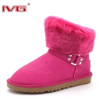 Fashion Lady's Buckle winter short leather rabbit keep warm wool snow boots,Waterproof+Rubber outsole,Purple,Pink,Sand,W5-W10