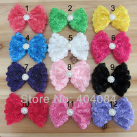 Trial order 4.5inch big Rose Bows Shabby Chiffon Bows With Pearl Metal Button Chic Rose Mesh Hair Bows 12colors 20pcs/lot