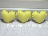 Free Shipping 100 PCS/Lots Very Hot and Kawaii Clear Resin yellow peach heart cabochons FOY DIY