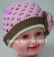 Free shipping (10pcs/lot) 100% cotton crochet khaki with the edge of the purple hat / knitting hats / handmade hats