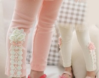 new fashion autumn Girls Leggings Lateral lace flowers trousers Children Leggings cotton trousers Korean factory  direct sales