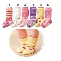 Free shipping 12pairs/lot Wholesale New Style Baby Socks Cute Baby Girl Cotton Socks Toddler Girls Antiskid Socks