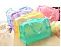 10pieces/lot  transparent waterproof cosmetic bag wash bag bath traveling storage bag 5 colors random