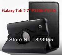"Wholesale Colors 360 Rotating Folio PU Leather Case Cover for Samsung Galaxy Tab 2 7"" P3100 P3113  10pcs/lot"
