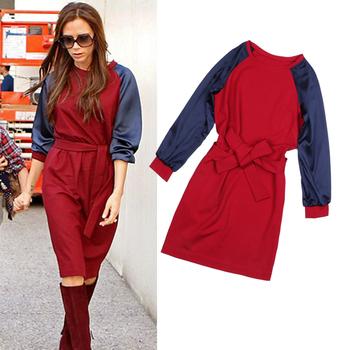 Promotion! Free Shipping 2015  Spring  Autumn Fashionr Women Dress Victoria Beckham , Red Blue Knee Length Dress Long Sleeve