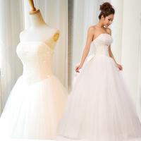 Free Shipping Women Paillette Beading Sweetheart Tube Top Wedding Dress Back Bandage Bridal Formal Dresses Princess Wedding