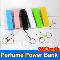 30pcs Perfume 2600MAH mobile power Charger portable power bank power battery for iPhone 4 5 samsung S3 S4 charger station blue