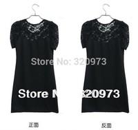 M/L/XL/XXL/XXXL 2014 new arrival plus size women short sleeve o-neck cotton blends patchwork black lace dress free shipping