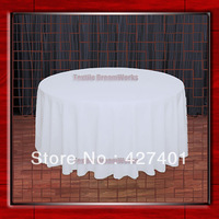 """Hot Sale  132"""" R White Round Table Cloth Polyester Plain Table Cover for Wedding Events &Party Decoration(Supplier)"""