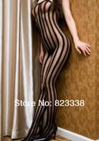 Free Shipping Wholesale Sexy Lingerie Vertical Stripes Unique Open Crotch Body Stocking 2015 Hot