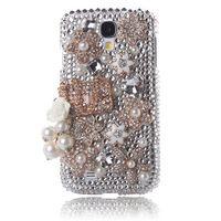 3D Bling Crystal Flower Pearl CoCo Bag Diamond Case Cover for Samsung Galaxy S4 9500