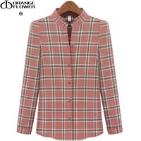 Orangeflower2013 women's stand collar plaid shirt plaid shirt top female