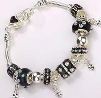 Wholesale European Murano black Glass Beads solid 925 sterling Silver Charm Bracelet