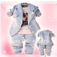 2013 Retail, 2 Colors Baby Girls Bows Jeans Model (Jacket + Shirts+ Pant) 3 Pieces Fashion Set, freeshipping (in stock)