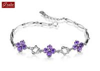 GS brand SL-21 Bracelets for women 2014 four leaves crystal infinity arm candy fashion jewelry vintage charm bracelets Bangles