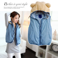 Free shipping  women's thickening down cotton berber fleece  hooded denim vest