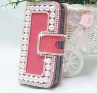 free shipping High Quality 3D Pearl and leather case for iphone 5 Support for custom and wholesale