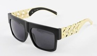 Free Shipping Fashion oversized metal chain twisted riskier sunglasses