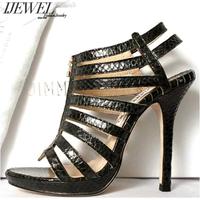 Ijewel jimmy c black serpentine pattern gladiator style zipper ultra high heels sandals genuine leather women's shoes