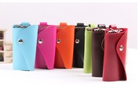 F02415 Candy Color Lady's Girl's PU Leather Key Case Bag Holder 6 Rings + Free shipping