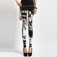 2013 spring pants fashion slim black and white color block decoration chinese ink personalized legging