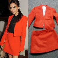 Free Shipping Brand Fashion Autumn Women's  Short jacket and skirt BLACK/orange,women suit
