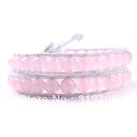 2013 fashion pink new hot sale braided white leather bracelet wholesale
