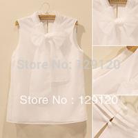 new 2014 summer snow spins unlined upper garment organza coat big bowknot collar sleeveless