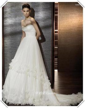 Fashion brief wedding dress handmade petals wedding bride wedding dress with train