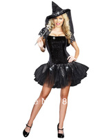 2014 Promotion The female Women Cotton Satin Wholesale Sexy Women's Halloween Party Apparel Starry Night Witch Costume H39212
