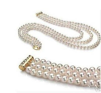 """triple strands AAA 8-9mm WHITE JAPANESE AKOYA PEARL NECKLACE 16'' 17""""18"""" 14K(China (Mainland))"""