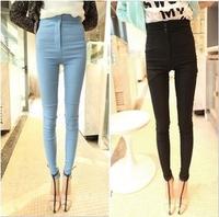Free Shipping women's sexy fashion Princess super 8750 2013 2 buckle high waist elastic skinny pants