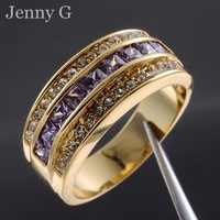 Jenny G Jewelry Size 9,10,11,12 Purple Amethyst 10KT Yellow Gold Filled Cocktail Band Ring for Men  EXCLUSIVE