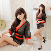 Lace Sleep wear underwear Sexy Kimono Costume Lingerie G-String+Band Sets Sexy Dress Exotic Apparel