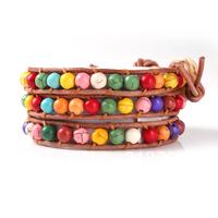 2013 wholesale fashion colourful balls multi new style orange leather bracelet