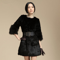 2013 hot sale fashion women's rabbit fur coat ladies' rabbit fur coat three quarter sleeve