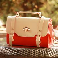 women's vintage messenger bag ladies women candy color block  preppy style day clutch lady shoulder bags hangdags