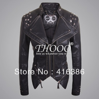 THOOO  Women Rock Punk Rivets oem  Studded Blazer Coat PU Leather Motorcycle Spiked Cropped Jacket