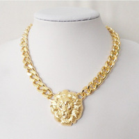 2013 Fashion Popular Ladies Lion head thick metal chains necklaces pendant jewelry for women gift free shipping