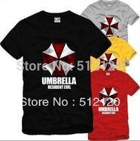 free shipping 2014 new arrival summer tee shirt Game t shirt Resident Evil umbrella logo Printed shirt 100% cotton 6 color
